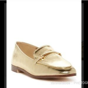 Gold Metallic Loafers